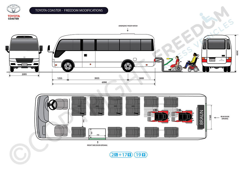 Toyota Coaster Floor Plan - Freedom Access Vehicles modify standard vans and buses into passenger accessible transport and wheelchair accessible vehicles. We can carry out wheelchair & handicap access conversions on a wide range of models to create passenger, disability wheelchair vans and wheelchair buses and any other special needs type of modification.