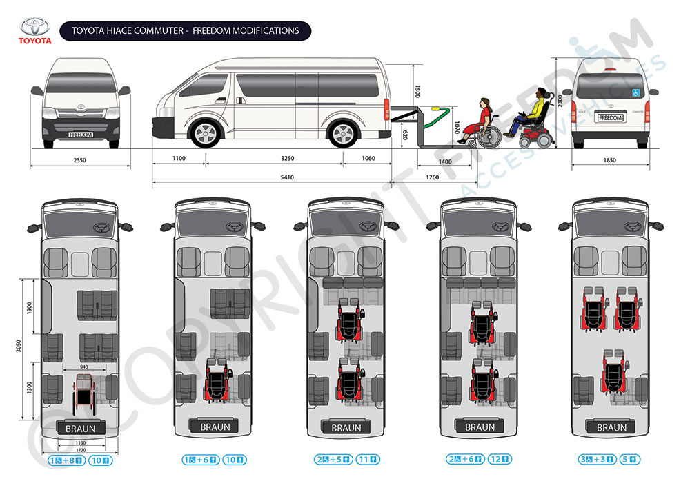 cdfe4af431 Toyota Hiace Commuter Floor Plan - Freedom Access Vehicles modify standard  vans and buses into passenger