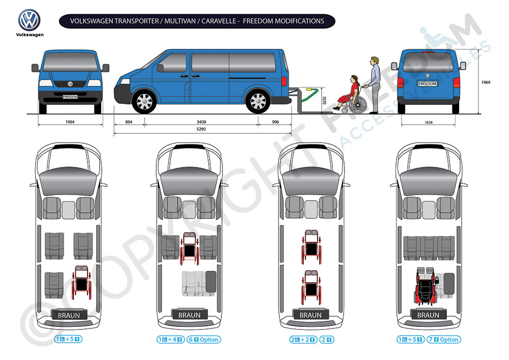 Volkswagen Transporter Floor Plan - Freedom Access Vehicles modify standard vans and buses into passenger accessible transport and wheelchair accessible vehicles. We can carry out wheelchair & handicap access conversions on a wide range of models to create passenger, disability wheelchair vans and wheelchair buses and any other special needs type of modification.